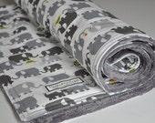 Baby Blanket- Gender Neutral- Baby Blanket- Crib blanket- Gray Elephants- Minky Back Baby Blanket