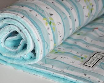 Baby Blanket, Birch Trees Baby Blanket, Minky Blanket, Aqua baby blanket