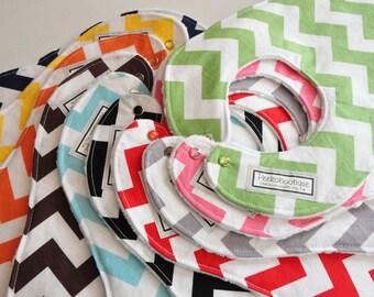 BABY BIBS, Pick 6 Chevron Baby/Toddler BIBS, Riley Blake fabrics