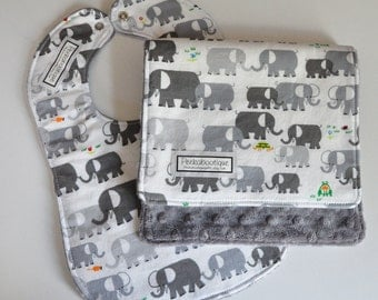 Baby Bib and Burp Cloth, ELEPHANTS in Gray