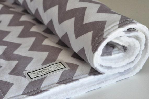 Baby/Toddler Blanket CHEVRON Gray in Riley Blake fabric