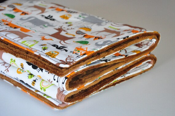 Deer Fox BABY Blanket, Toddler Blanket, Forest Friends in Gold, Dimple dot minky on back