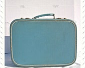 RESERVED: Vintage Baby Blue Suitcase with Relined Interior