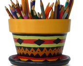 Tribal Inspired, Black And Gold Centerpiece or Pencil Holder Flower Pot - 6-inch pot