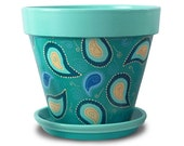 Paisley Peacock Flower Pot in Aqua, Blue, and Turquoise - 8-inch pot