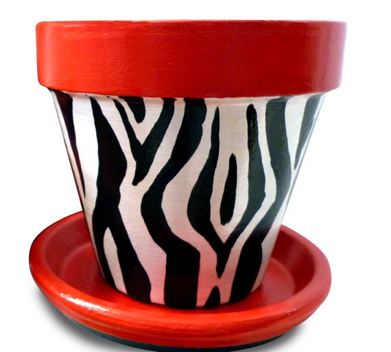 Zebra Flower Pots For Party Decor And Party Favors - 8-inch