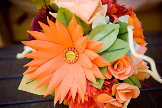 Items similar to colorful orange handmade paper flower for Fall wedding bouquets for sale