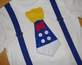 Donald Duck Shirt, Donald Duck Birthday Outfit, Donald Duck Tie With Blue Suspenders, Boys Disney Cruise Shirt Outfit