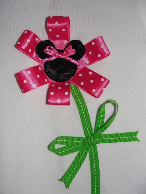 Minnie Mouse Inspired Ribbon Flower Baby Girl Outfit Minnie Birthday Party Girl Party Shirt