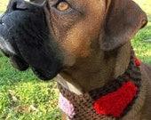 Majoys Hand Crocheted Valentines Day Dog Cowl-Size MEDIUM