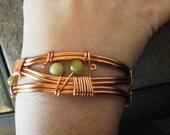 Copper Cuff Bracelet, Handcrafted Korean Jade Wire Wrapped Cuff Bracelet, Women's Jewelry, Wire Wrapped Bracelet