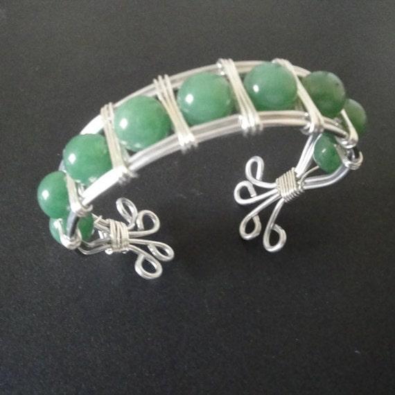 Silver Metal Cuff Bracelet, Green Aventurine Bracelet, Handcrafted Wire Wrapped Cuff Bracelet, Boho, Women's Jewelry