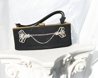Jeweled vintage purse upscaled and embellished with vintage rhinestone jewelry