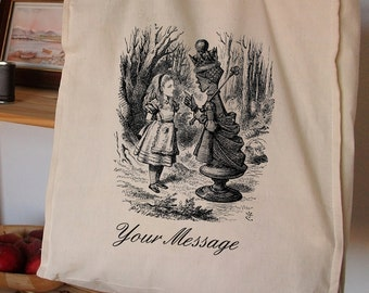 ALICE In WONDERLAND SHOPPER Personalised Unique Cotton Shopper Bag 19th Century Victorian looking glass handmade printed bag tote organic