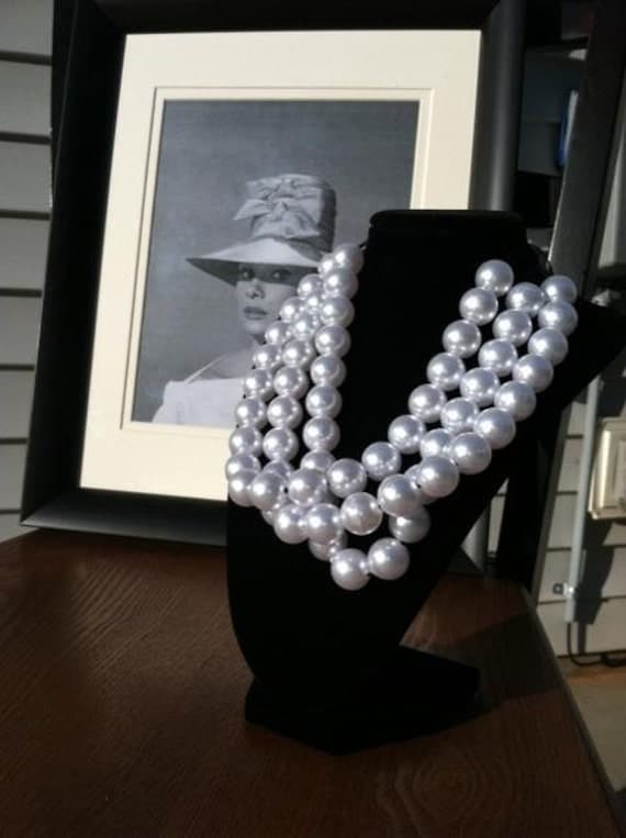 Pearl beaded triple strand necklace