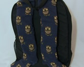 Owl - Backpack Shoulder Strap Covers - blue and brown