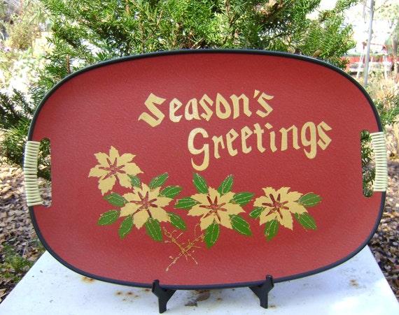 Vintage Cabin/Rustic Seasons Greetings Tray