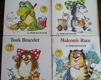 "Lot of 4 Little Critter ""Critter Kids"" Fold Out Books by Mercer Mayer, VERY RARE, First Edition, Gator, Too, Malcom, Possum Child"