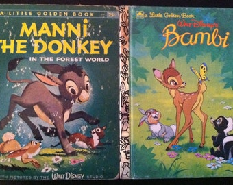 "1st Edition ""A"" Little Golden Books - Walt Disney's MANNI the Donkey and BAMBI"