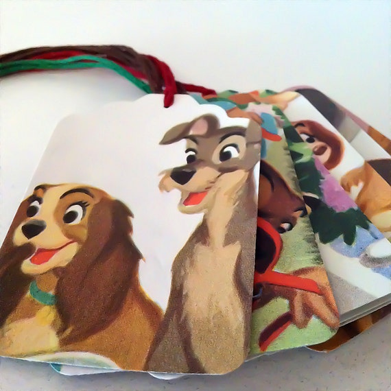 LADY And The TRAMP, DISNEY, 6 Gift Tags, Scrapbooking, Table Setting, Party Decor, Birthday Presents, Gift Bags
