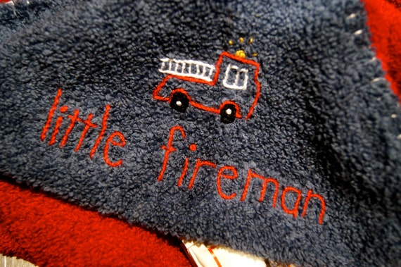 Hooded Baby Towel Blue and Red Hand Embroidered-Little Fireman