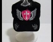 Cross Angel Wings Rhinestone Vintage Distressed Black Military Army Adjustable Cap Hat Newsboy