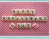 Customised hand made original 'Happy Engagement Day' greeting card - art print SC009