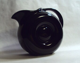 Fabulous Hall China Glossy Black Donut Doughnut Pitcher Water Jug Art Deco