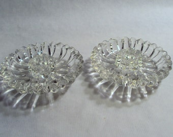 Hazel Atlas Glass Daisy Taper Candle Holders Clear Candlesticks Pair