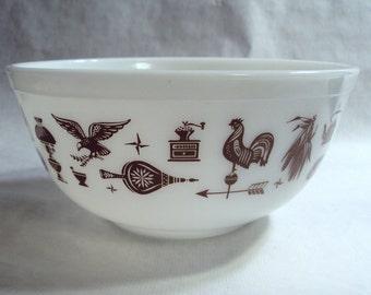 Vintage Corning Glass Pyrex Early American Pattern 403 Mixing Bowl 2 1/2 Quart