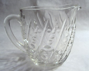 Vintage Anchor Hocking Glass Beaded and Bar Clear 16 Ounce Milk Pitcher