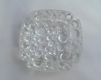 """Mid Century Modern Crystal Clear Textured Glass Bubble Abstract Ashtray Dish 4"""""""