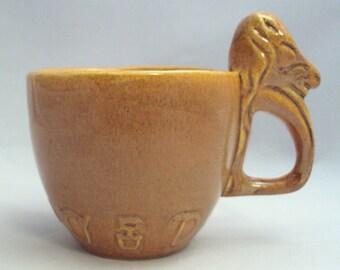 Vintage Orange Art Glaze Pottery Cup Mug Horse Head Handle Cattle Brands