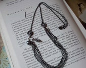 Sexy, Chic Rhinestone and Gunmetal Four Strand Vintage Style Necklace