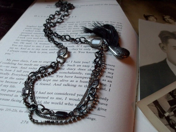 Dark and Mysterious Feather Accent Locket Triple Strand Vintage Style Necklace