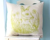 As Seen In Better Homes & Gardens Pillow Cushion Cover Linen Woodland Deer 20x20 Flowers Grass Fawn Green Chartreuse Screen Printed Gift