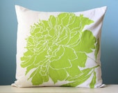 Pillow Cushion Cover Decorative Peony Flower Linen Throw 20x20 Chartreuse Green Hand-Printed, Printed Screen Wedding Modern Gift Nature