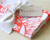 Dish Towel Tea Kitchen Polka Dot Flower Coral Orange Cloth Linen Hand Printed Screen Print Hostess Gift Bride's Maid Single Towel