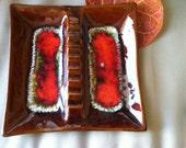 Ceramic Ashtray Vintage Made in USA Volcano Splash Color GROOVY Hippie Retro