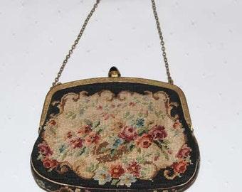HUGE SALE *******Handbag Flora Petit Point  Made is Austria Vintage 1920's