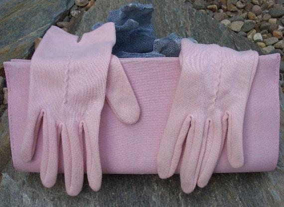 Vintage 1960's Powder Puff Pink Slim Clutch with Matching Gloves