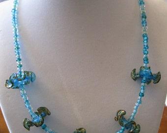 Handmade Lampwork Glass Blue Ruffle Necklace