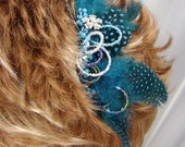 BeJeweled & Feathered Teal Hair Comb Fascinator  Bridal Bridesmaid Hair Accessory