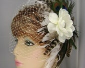 Peacock Tigress Feather Flower Brooch Bridal Fascinator Hairpiece