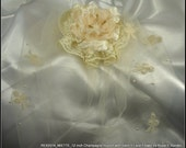 12 inch Champagne Illusion Birdcage Veil with Detachable Satin n Lace Flower Bridal Set