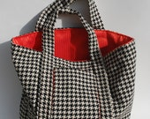 Large Bag 2 Black & Cream Houndstooth Wool Tote