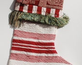 Christmas Stocking 15 Red & Cream Quilted Cotton with Stripe