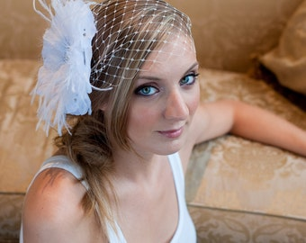 Bridal Birdcage veil ~White bloom with ostrich feathers and Swarovski rhinestones,birdcage veil, bridal headpiece, wedding headpiec