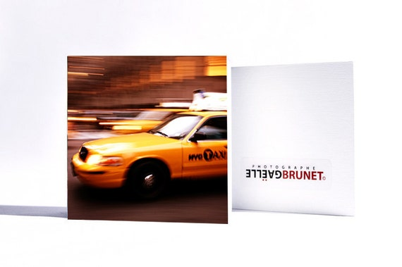 "NYC taxi // New York // 4""x 4"" wood photo block (10 cm x 10 cm)."