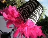Zebra and Hot Pink Feather Boa  Table Lamp